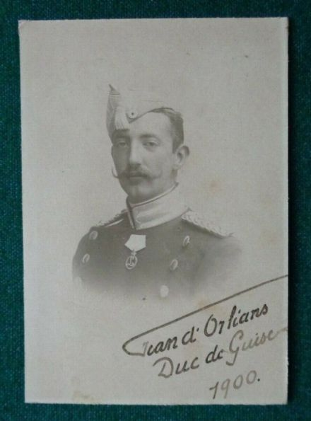 Antique Signed Cabinet Photo Prince Jean of Orléans Duke de Guise 1900 France